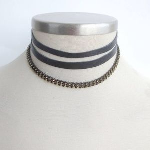 Jewelry - Leather & Chain Choker